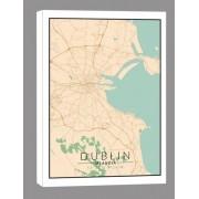Dublin mapa kolorowa - obraz na płótnie