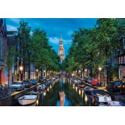 Puzzle Educa - Amsterdam Canal at Dusk, The Netherlands, 1500 piese, include lipici puzzle (16767)