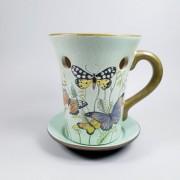 Candela ceramica cu fluturi pentru aromaterapie cu uleiuri esentiale, volatile