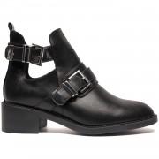 Boots Black Buckle - Cut Out Boots - ComeGetFashion