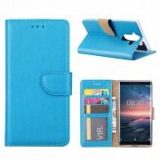 Luxe Lederen Bookcase hoesje voor de Nokia 8 Sirocco - Blauw