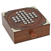 Handmade Indian Wooden Solitaire Board Game with Stainless Steel Balls - Travel Games for Adults by ShalinIndia