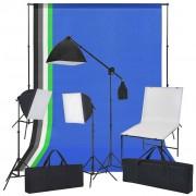 vidaXL Kit estúdio fotográfico com mesa, luzes e fundos