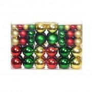 vidaXL Комплект коледни топки от 100 части, 6 см, червени/злато/зелени