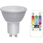 Bec led RGB dimabil, 3,5 W, GU10, forma reflector, cu telecomanda