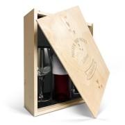 YourSurprise Coffret vin rouge avec 2 verres - Luc Pirlet Merlot - Couvercle gravé