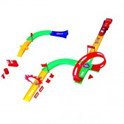 Dazzling Toys Track Racer Racing Car Toy Set - Set Includes: Car Pusher, 4 Piece Tracks, 2 Bridge Tracks, 2 Racer Cars + Accessories
