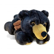 Puzzled Lying Wild Black Bear Super - Soft Stuffed Plush Cuddly Animal Toy / Animals Theme 10 Inch (5337)