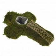 Kereszt kaspóval moha-kéreg 22x32cm zöld