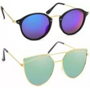 SRPM Cat-eye, Wayfarer Sunglasses(Blue, Green)