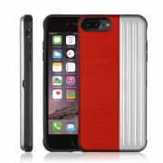 Angibabe TPU + PC Protective Case for iPhone 8 Plus & 7 Plus with Card Slot and Holder (Red+Silver)