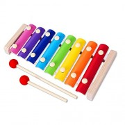 HATCHMATIC Rainbow Wooden Xylophone for Children Musical Toys Creative Wooden Instruments Early Learning Education Toys for Kids: Yellow