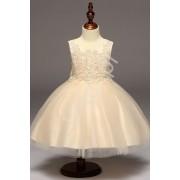 Lejdi Złoto beżowa sukienka z obfitą tiulową spódnicą sukienki dla dziewczynek