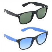 HRINKAR Men's Green Mirrored Wayfarer Sunglasses