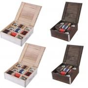 2x Teebox Aufbewahrungsbox Sockenbox Krawattenbox 24x24x10 cm, Shabby-Look, Vintage ~ Variantenangebot