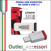 Penna USB Pendrive Kingston 32gb 3.1 3.0 DT50