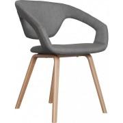 Fotel FLEXBACK 1200126 Zuiver nowoczesny fotel z elastycznym sprężynującym oparciem jasnoszara tapicerka nogi w kolorze bukowym