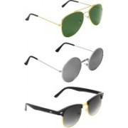 Abner Aviator, Round, Clubmaster Sunglasses(Green, Silver, Black)