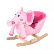 HOMCOM Children Rocking Seat with Sound-Pink Elephant
