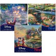 Thomas Kinkade Disney Movie Collection 750 Piece Jigsaw Puzzle Gift Set (3 Puzzles) 2903-13-14-15