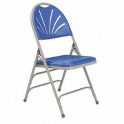 National Public Seating Blue Plastic Seat with Fan Back Stackable Outdoor Safe Folding Chair (Set of 4)