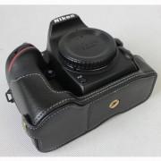 Genuine Cowhide Leather Half Protective Case for Nikon D7500 Digital SLR Camera - Black