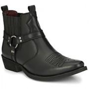 Delize Black Cowboy Ankle Boots