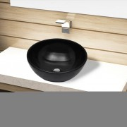 vidaXL Bassin d'évier rond céramique Noir pour salle de bain