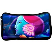 Snoogg mermaid head 2879 Poly Canvas Student Pen Pencil Case Coin Purse Utility Pouch Cosmetic Makeup Bag
