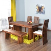 BM WOOD FURNITURE Sheesham Wood Rectangular Wooden Dining Set for Balcony Garden and Outdoor 6 Chairs Bench Rect
