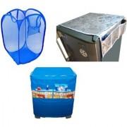 Jim-Dandy Grey Designer Fridge Top Cover + Blue Washing Machine Cover + Foldable Net Laundary Bag