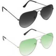 Hrinkar Aviator Sunglasses(Grey, Green)