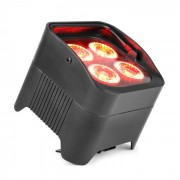 Beamz BBP94, uplight PAR, 4 x 10 W, 6v1 LED диод, RGBAW-UV, 48 W, 12,6 V/7,8 Ah, акумулатор, черен (150.589)