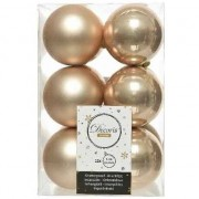 Decoris 12x Donker parel/champagne kerstballen 6 cm kunststof mat/glans