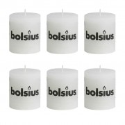 Bolsius Rustic Pillar Candle 80 x 68 mm White 6 pcs
