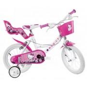 Dino Hello Kitty 14 Inch 23 cm Meisjes V Brake Roze/Wit