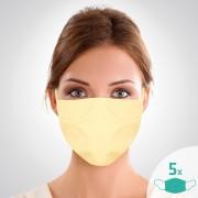 Mască facială de protecție din bumbac cu elastic, 16 x 24 cm, set de 5 buc.