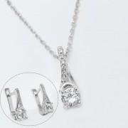 Set bijuterii argint format din pandantiv cu lant elegant si cercei cu tortita si strasuri