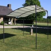 vidaXL Стоманена шатра с текстилен навес, кремаво-бяла
