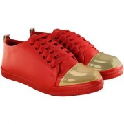 Blinder Women's Red Golden Lace-Up Casual Sneakers Shoes