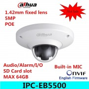 Dahua English version IPC-EB5500 5MP WDR Panorama 185 Degree built-in MIC with SD card slot POE Network Fisheye Dome IP Camera