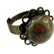 Inel reglabil bronz antic floare cu unakit GlamBazaar Reglabila cu Unakit Verde tip inel din aliaj metalic reglabil cu pietre