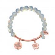 CO88 Armband met bedels bar/bloem/open bloem rosé/wit 8CB-50001