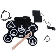 MagiDeal Electronic Roll up Drum 7 Pads Portable Electronic Drum Pad kit Foldable Practice Instrument with 2 Foot Pedals and Drum Sticks