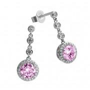 Zilveren Oorhangers Fancy Colors zirkonia Roze Rond Entourage 808.0359.00