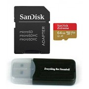 SanDisk 64GB Micro Extreme Memory Card for Samsung Galaxy S9, S9 Plus, S8, S8+, S7, S7 Edge Cell Phones 4K Recording UHS-I (SDSQXAF-064G-GN6MA) with Everything But Stromboli (TM) Card Reader