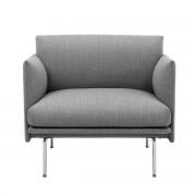 Muuto - Outline Studio Sessel, Aluminium poliert / grau (fiord 151)