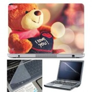 FineArts Laptop Skin Lovable Teddy With Screen Guard and Key Protector - Size 15.6 inch