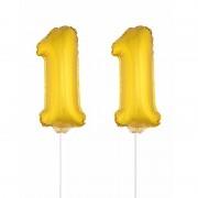 Shoppartners Folie ballonnen cijfer 11 goud 41 cm - Ballonnen
