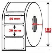 Rotolo da 1800 etichette adesive mm 40x30 Termiche 1 pista anima 40